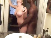 Hot blonde interracial sex in bathroom with black boyfriend