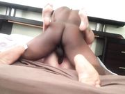A quick sex in bed with a trashy white woman and big black man
